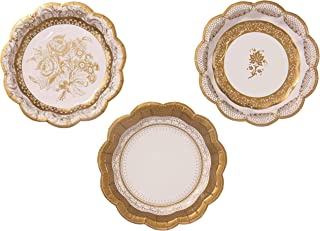 Talking Tables Gold Party Decorations | Gold Paper Plates | White And Gold Plates | Great For Wedding, Bridal Shower, Christmas And Birthday Decorations | Small