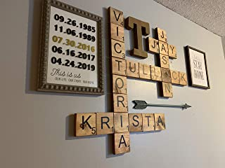 "Home Decor Wall 3.5"" Large Scrabble Tiles Letters Wood Wall Rustic Art Family Living Room Bedroom Kitchen Gift For Husband Wife Personalized"