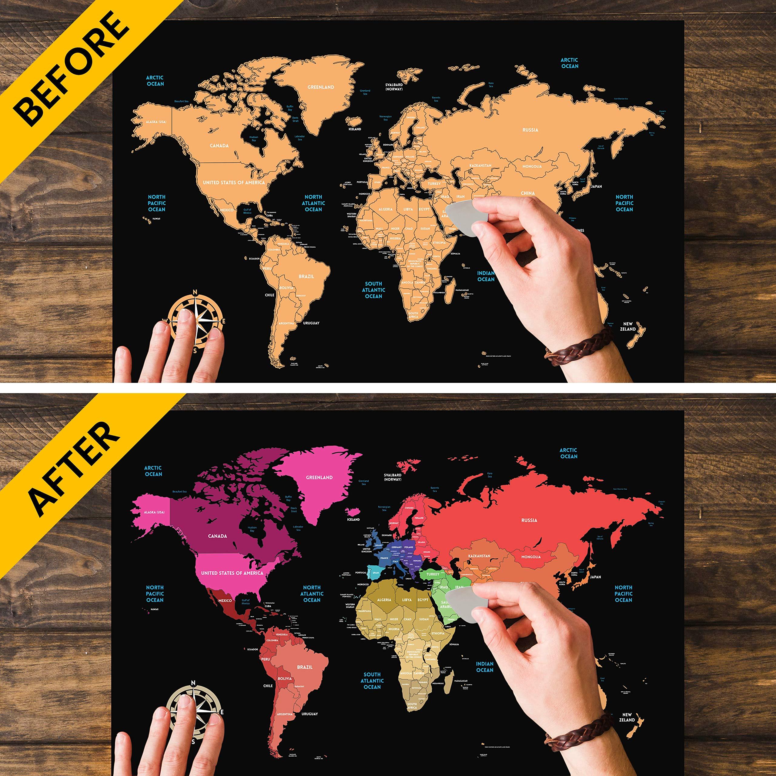 Mapa Mundi para Rascar Grande 841 * 594mm, Mapamundi Super ...