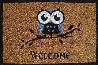 Cranberry Mats Designer Natural Coir Non Slip Doormat for Patio, Front Door, All Weather Exterior Doors - Animal Bird One Owl