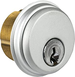 Global Door Controls Single Brass Mortise Cylinder in Aluminum
