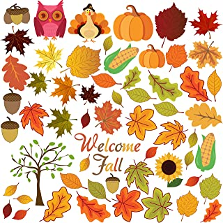 FRIDAY NIGHT Thanksgiving Fall Autumn Leaves Acorns Window Sticker Thanksgiving Decorations Reusable Autumn Party Supplies(58 Pcs)