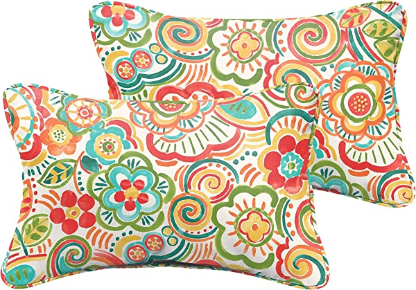 Humble And Haute Selena Coral And Orange Rio Floral Indoor Outdoor Corded Lumbar Pillows Set Of 2 12 X 24