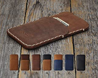 Italian Leather Case for iPhone 11 Pro Max XS XR 8 Plus and Older Models, Personalized Cover Wallet with Credit Card Pocket, Sleeve Pouch Shell, Monogram your Name or Initials. Handmade in Europe