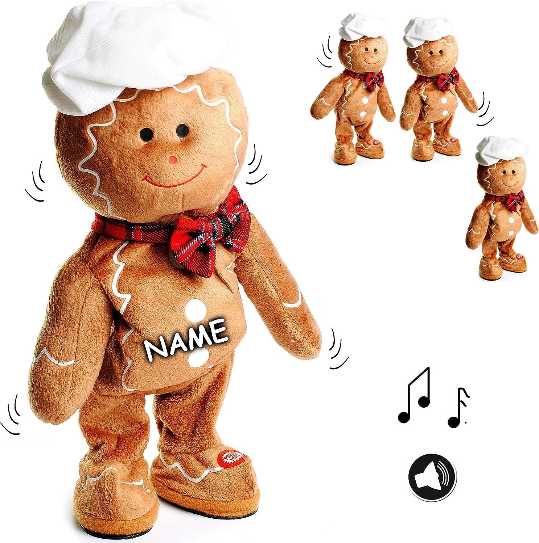 Alles-meine  GmbH XL - singender & Tanzender -  Pfefferkuchenmann   Lebkuchen - I Wish You a Merry Christmas  - incl. Name - Plüschtier mit Sound & Bewegung - 40 cm - aus STO.. B077WTR9GT Viele Stile    | Adoptieren