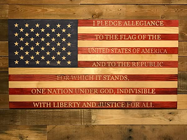 Old Glory Rustic Wood American Flag Pledge Of Allegiance Vintage Wood Sign Rustic Wooden Signs Wood Block Plaque Wall Decor Art Farmhouse Home Decoration Gift 14x24 Inches