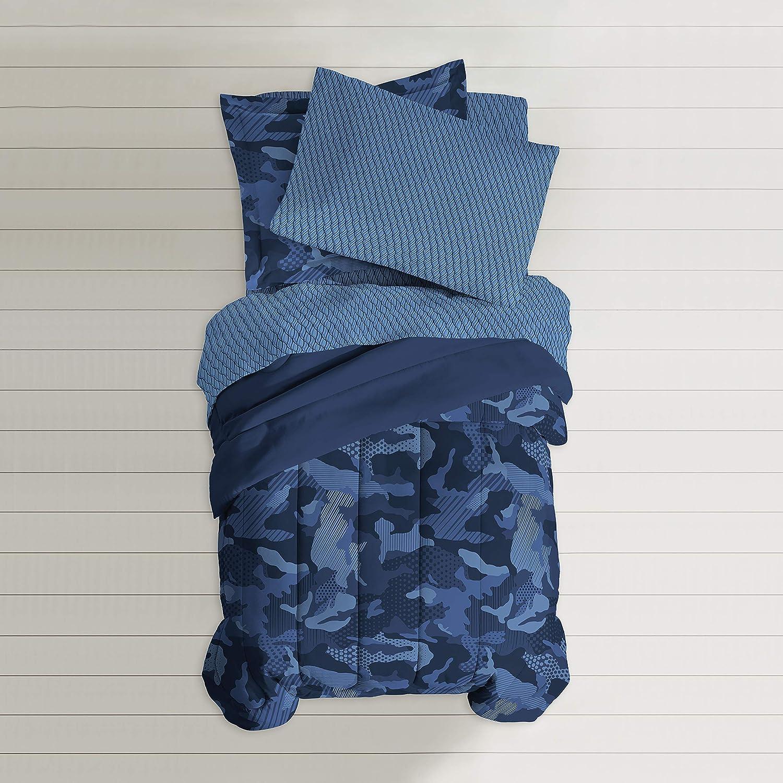 Dream Factory Geo Camo Comforter Set, Full, bluee