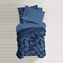 dream FACTORY Geo Camo Comforter Set, Twin, Blue
