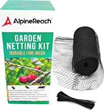 AlpineReach 7.5 x 65 Feet Garden Mesh Black Netting Kit Gift Box - Protect Plants Fruits Flowers Trees - Stretch Fencing Durable Net with Zip Ties - Fine Mesh Heavy Duty Cover Stops Birds Deer Animals