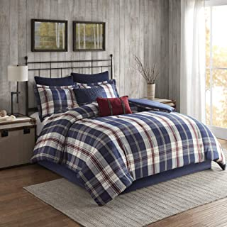 Woolrich Comforter Reversible Oversized Jacquard Check Plaid Cabin Lodge Rustic Printed Modern Ultra Soft Down Alternative Hypoallergenic All Season Bedding-Set, Twin/Twin XL, Ryland Blue