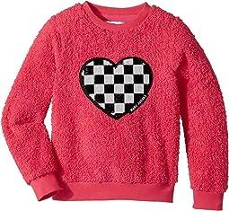 Little Marc Jacobs - Soft Faux Fur Heart Illustration Long Sleeve Sweatshirt (Little Kids/Big Kids)