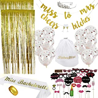 Bachelorette Party Decorations Kit 50 Piece | Bridal Shower Supplies | Photo Props & Backdrop Set – Gold Banners, Gold Photo Backdrops, Confetti Balloons, Photo Props, Sash, Tiara, Veil, Ribbon
