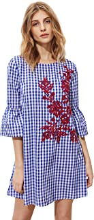 Floerns Women's Bell Sleeve Embroidered Tunic Dress
