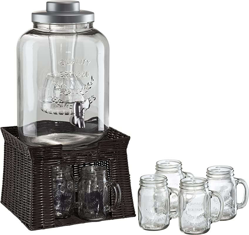 Artland Masonware Beverage Jar With Chiller And Infuser 6 Mason Jars Faux Wicker Stand