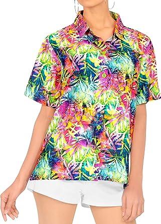 LA LEELA Blusas de Manga Corta Camisa Hawaiana de la Playa botón hacia Arriba el Traje de baño de natación de Varios