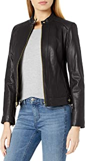 Women's Leather Racer Jacket with Quilted Panels