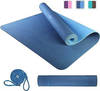 PROIRON Yogamatta halkfri stor träningsmatta pilatesmatta med bärrem 183 cm x 66 cm x 6 mm eller 183 cm x 80 cm x 6 mm för...