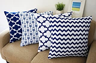 Blue and White Howarmer® Square Cotton Canvas Decorative Throw Pillows Cover Set of 4 Accent Pattern - Navy Blue Quatrefoil, Navy Blue Arrow, Chevron Cover Set 18