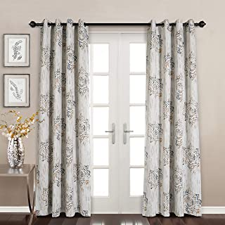 MYSKY HOME Dahlia Flower Damask Style Fashion Design Print Thermal Insulated Blackout Curtain with Grommet Top for Dining Room, 52 by 95 inch, Brown - 1 Panel