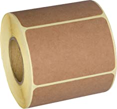 Camp Galaxy 2x3 Inch Natural Brown Kraft Stickers (350 Per Roll) - Rectangular Blank Stickers For Store Owners, Crafts, Organizing, Jar and Canning Labels, Price Tags, Clearance Sales