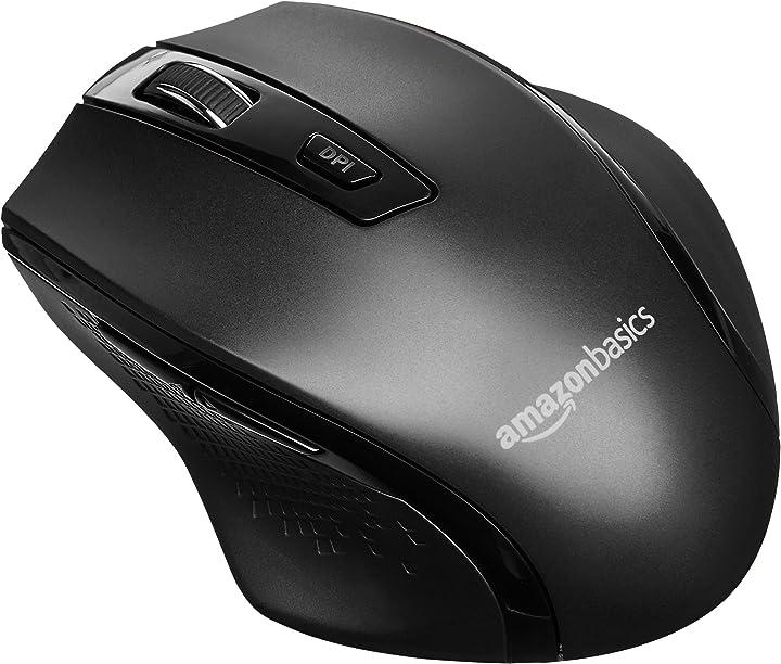 Amazon basics - mouse wireless ergonomico - dpi regolabili - nero G6B-BK