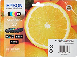 Epson 33 Oranges Genuine Multipack, 4-colours Ink Cartridges, Claria Premium Ink, Amazon Dash Replenishment Ready