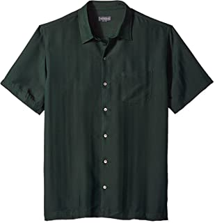 Men's Air Short Sleeve Button Down Poly Rayon Stripe Shirt