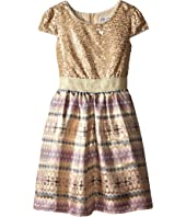 Us Angels - Sequin Aztec Brocade Cap Sleeve w/ Full Skirt (Big Kids)