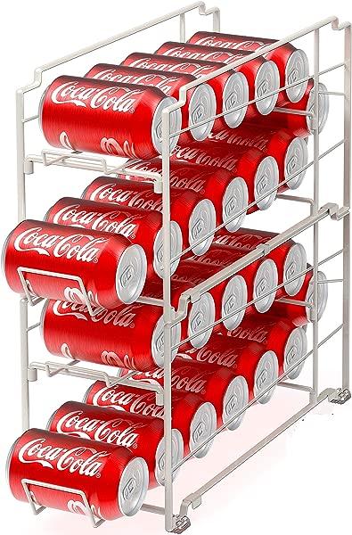 2 个装 SimpleHouseware 可堆叠前装饮料罐分配器架白色