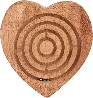 Wooden Labyrinth Round Ball in Maze Heart Shape with 3 Metal Ball Kids Strategy Wooden Board Toy Challenging Tilting Board Game for Kids Adults Teens Boy Girl- Educative Toy for Focus and Motor Skills
