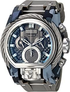 Invicta Men's Reserve Stainless Steel Quartz Watch with Silicone Strap, Grey, 25.6 (Model: 26439)