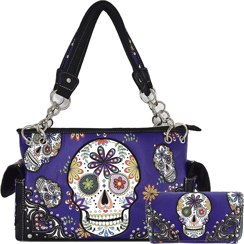 Sugar Skull Day of the Dead Halloween Purse Concealed Carry Handbag Women Shoulder Bag Wallet Set Purple