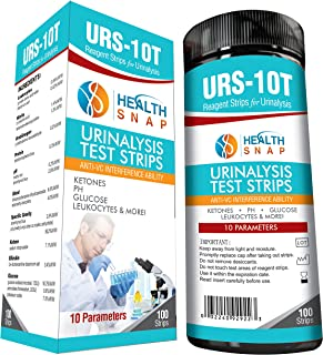 HealthSnap 10-Parameter Urinalysis Test Strips - Quick and Easy Testing for Ketone, pH, Glucose and More in Urine – Perfect for Those on a Low Carb, Paleo, or Ketogenic Diet - 100 Strips