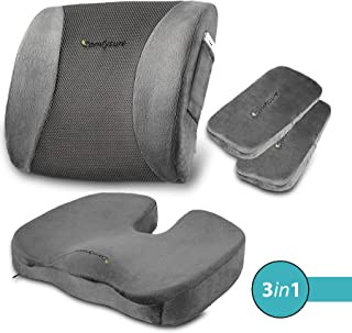 ComfySure 3 Piece Seat Cushion Set – Back Lumbar Support, Tailbone Coccyx Orthopedic Pain Relief, 2 Padded Armrest Covers – Memory Foam, Removable Plush Covers – Fits Most Office Computer Chairs