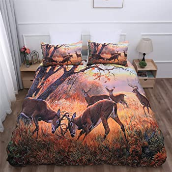 100/% Cotton Set of 3 LaModaHome Wildlife Duvet Cover Set Deer Walks in Snowy Day in Africa Duvet Cover and 2 Pillowcases for King Bed 156COF60112