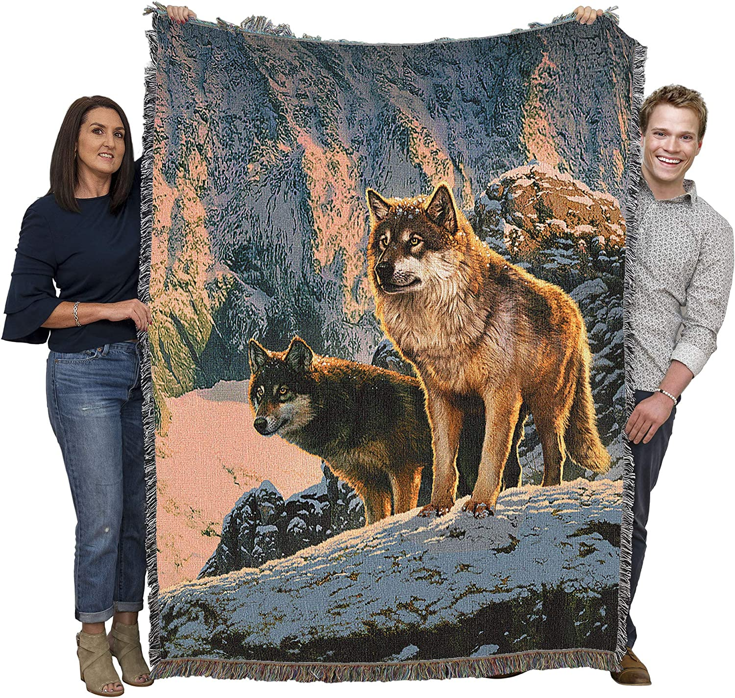 Wolf Couple in Sunset - Vincent Cotton Challenge the Ranking TOP16 lowest price of Japan Woven HIE Blanket Throw