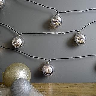 Martha Stewart Mercury Glass Globe String Lights, Battery Operated, 7.5 Feet, Silver