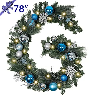 TFWell Christmas Garland with Lights, Pre-Lit 78 Inch Silver Blue Christmas Door Garland, Decorative Garland with Artificial Spruce, Berries, Christmas Ball Ornaments, Battery Operated 20 LED Lights
