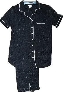 Secret Treasures Black Polka Dot 2 Piece Notch Collar Pajama Sleep Set