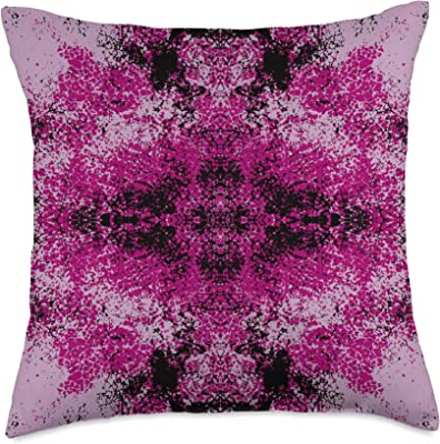 Colorful Bohemian Boho Chic Abstract Art Pattern Decorative Feminine Pink Black Mandala Hippie Style Design Throw Pillow, 18x18, Multicolor
