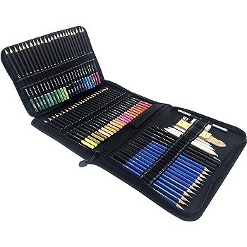 Juego de 95 piezas, Lápices de dibujo, set de dibujo profesional; estuche de carboncillo y lápices de colores para dibujo, kit material para dibujo artístico. Lápices de grafito y lápices de colores.: