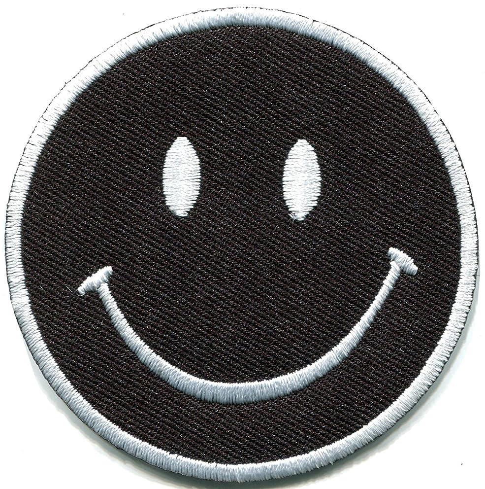 Smiley face black boho 70's retro smile fun embroidered applique iron-on patch new