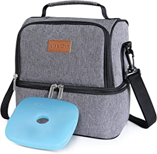 Lifewit 2 Compartment Lunch Box Insulated Lunch Bag Leakproof Thermal Bento Bag for..