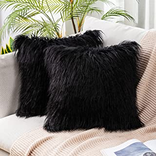 (46cm x 46cm,Set of 2, Fur Black) - Miulee Pack of 2, Decorative New Luxury Series Merino Style Black Fur Throw Pillow Cas...