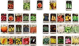 Set of 34 Premium 100% Organic Vegetable Seeds + 1 Bonus Seed Packet! Deluxe Variety Non-GMO Heirloom Certified Organic Seeds (34 Organic Set + 1 Bonus)