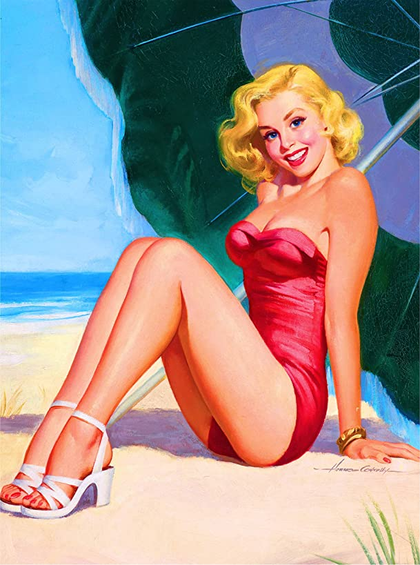 A SLICE IN TIME 1940S PIN-UP GIRL At The Beach Vintage Pin Up Travel Adventures Advertisement Art Souvenir Poster Print. Measures 10 x 13.5 inches