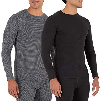 Fruit Of The Loom Recycled Waffle Thermal Underwear Crew Top (1 and 2 Packs)