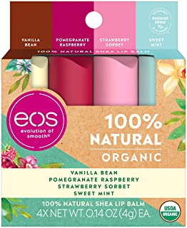 eos USDA Organic Lip Balm - Variety Pack Lip Care to Nourish Dry Lips 100% Natural and Gluten Free Long Lasting Hydration ...