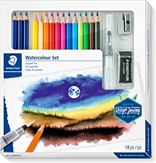 STAEDTLER Design Journey Watercolour Set of Mars Lumograph Pencils, Watercolour Pencils, A Water Brush and Accessories