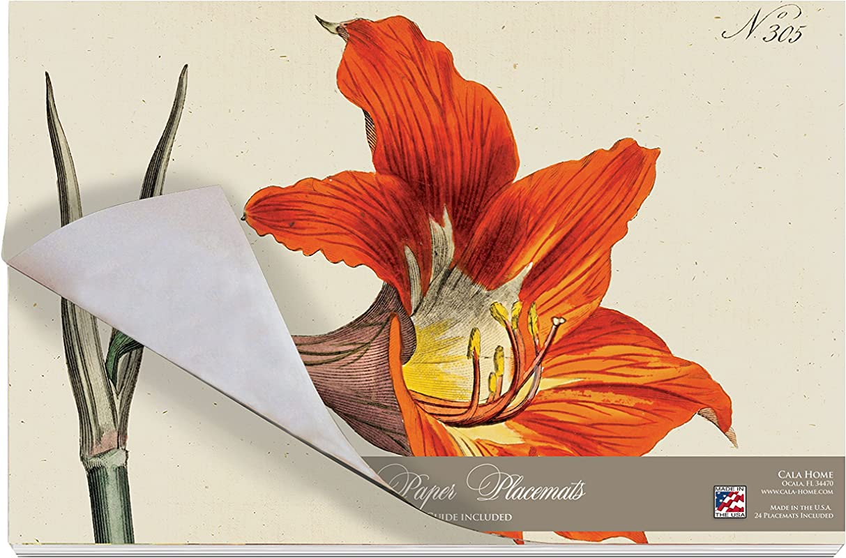 Cala Home 24 Pack Disposable Paper Placemats Williamsburg Botanical Lilies
